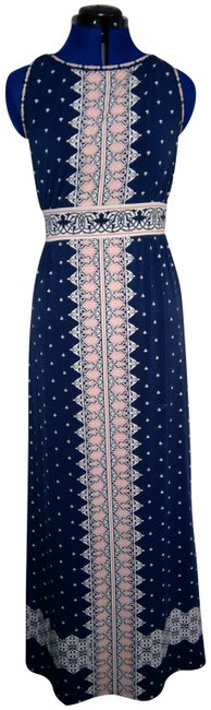 Item - Navy with Salmon & White Geometric Accents Women's Long Casual Maxi Dress Size 4 (S)