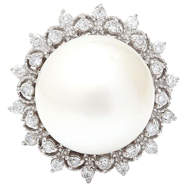 Item - White Silver 12.08 Mm South Sea Pearl 14k Solid Gold Diamond Ring