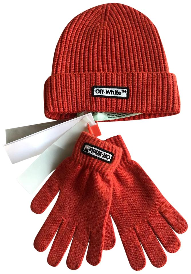 10a3e5473 Off-White™ Red Logo Patch Wool Beanie N Gloves Hat
