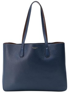 Tory Burch Leather Logo Casual Tote in Blue