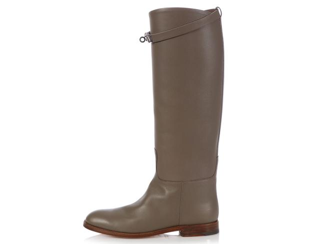 Item - Gray Etain Swift Leather Jumping Boots/Booties Size EU 37.5 (Approx. US 7.5) Regular (M, B)