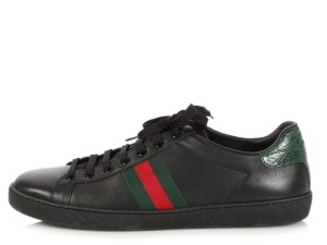 Gucci Red Green Stripe Leather Gc.q0213.06 Black Athletic