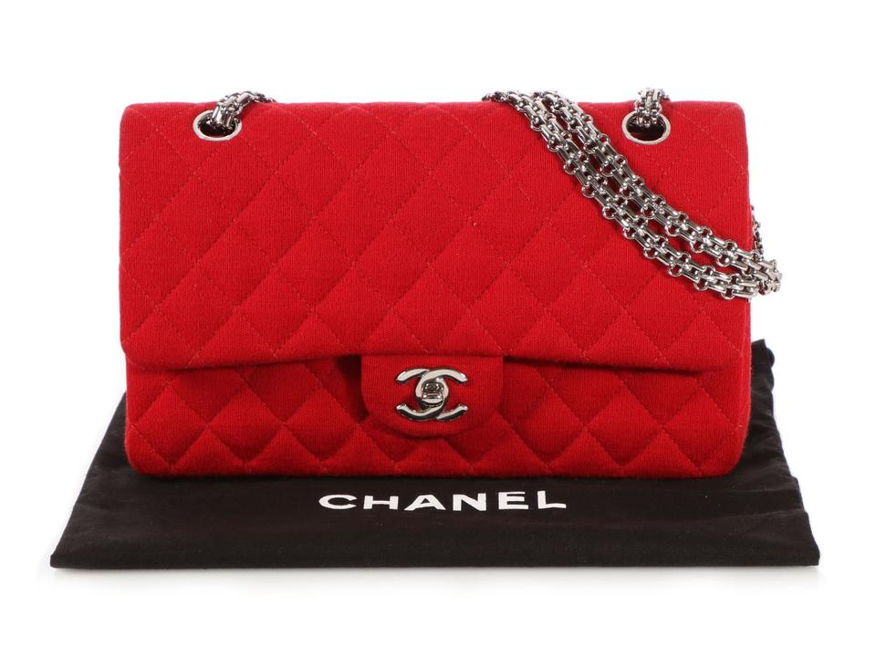 8bf27d0323f9 Chanel Classic Double Flap Medium / Large Quilted Red Jersey ...