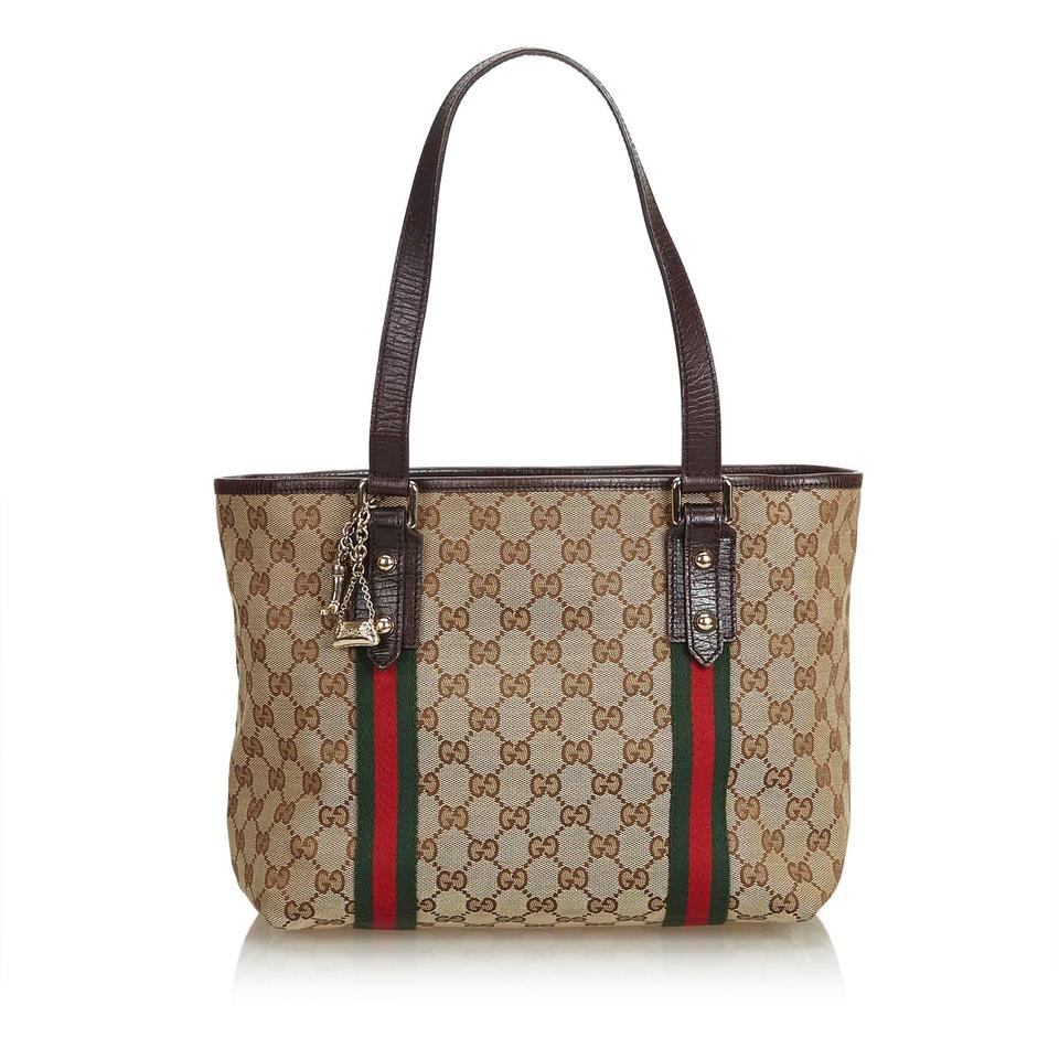 5e9e35085a275e Gucci Jolicoeur Jacquard Fabric Italy Brown Blend Leather Tote - Tradesy