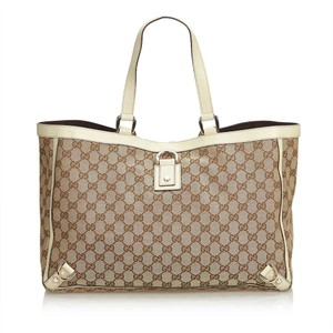 6843fd44d Added to Shopping Bag. Gucci 9cguto052 Vintage Blend Leather Tote in Brown. Gucci  Bag Abbey Beige Jacquard Fabric Gg ...