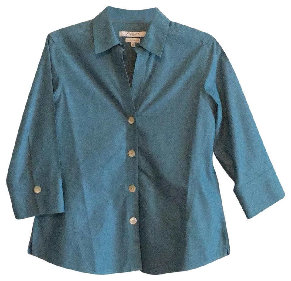 f07696e1 Foxcroft Blue Wrinkle Free Striped Tailor Shirt Button-down Top Size ...