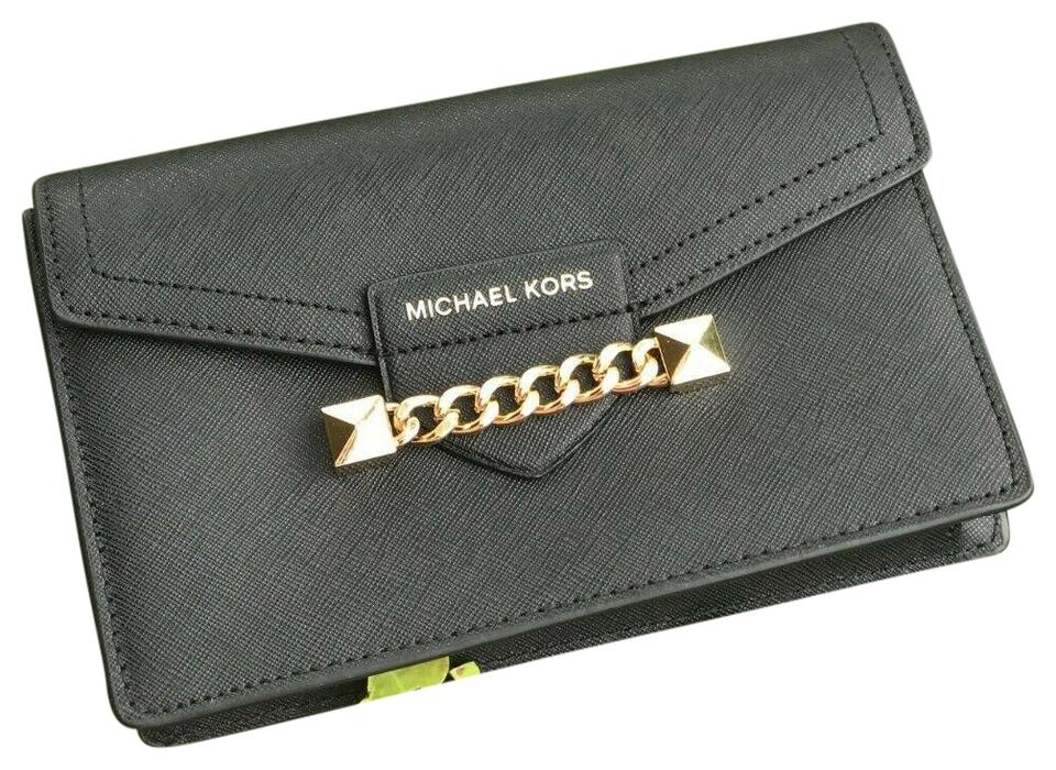 2c6f86904d Michael Kors XS Wristlet Chain Saffiano Black and Gold Leather Cross Body  Bag 68% off retail