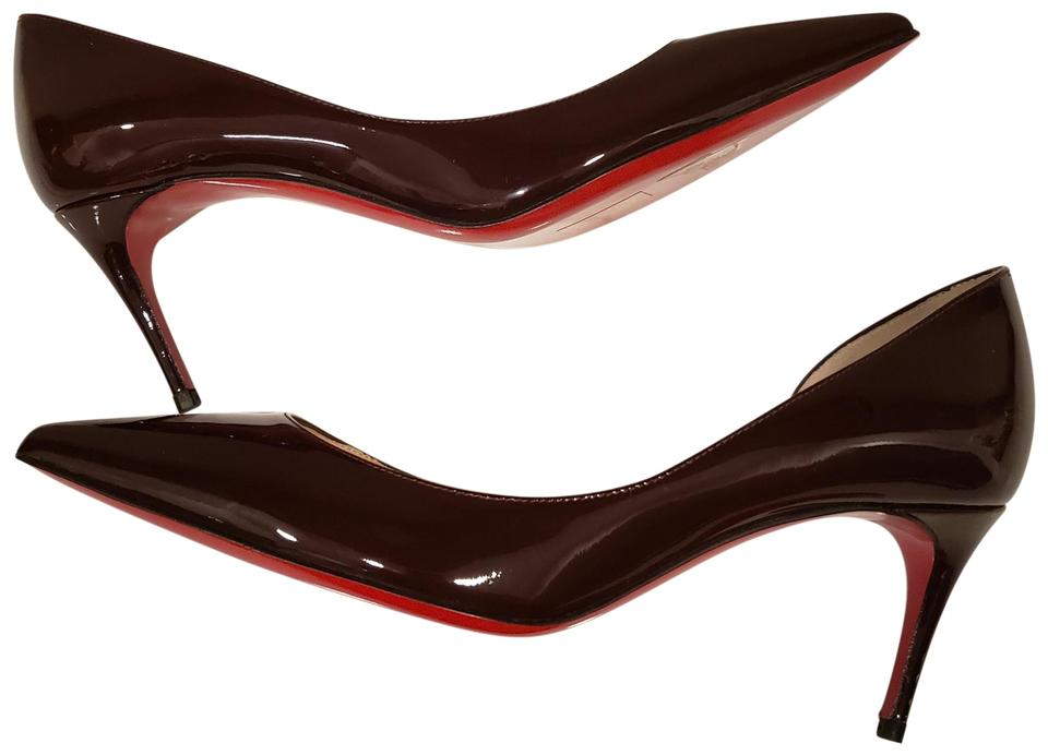 cd65f272efae Christian Louboutin Heels Iriza D orsay Patent Leather Lie De Vin  (Burgundy) Pumps ...