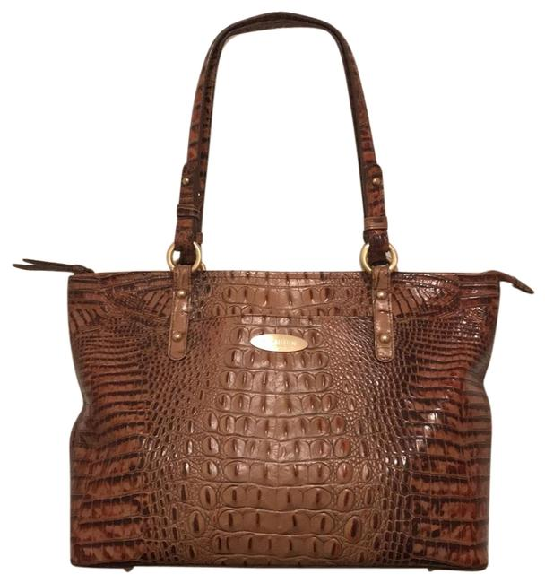 Item - Melbourne Cro/Gator Embossed Beige Brown Gold Leather Tote