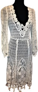 WHITE Maxi Dress by Free People Lace Crochet Cover Up Cochella Outfits