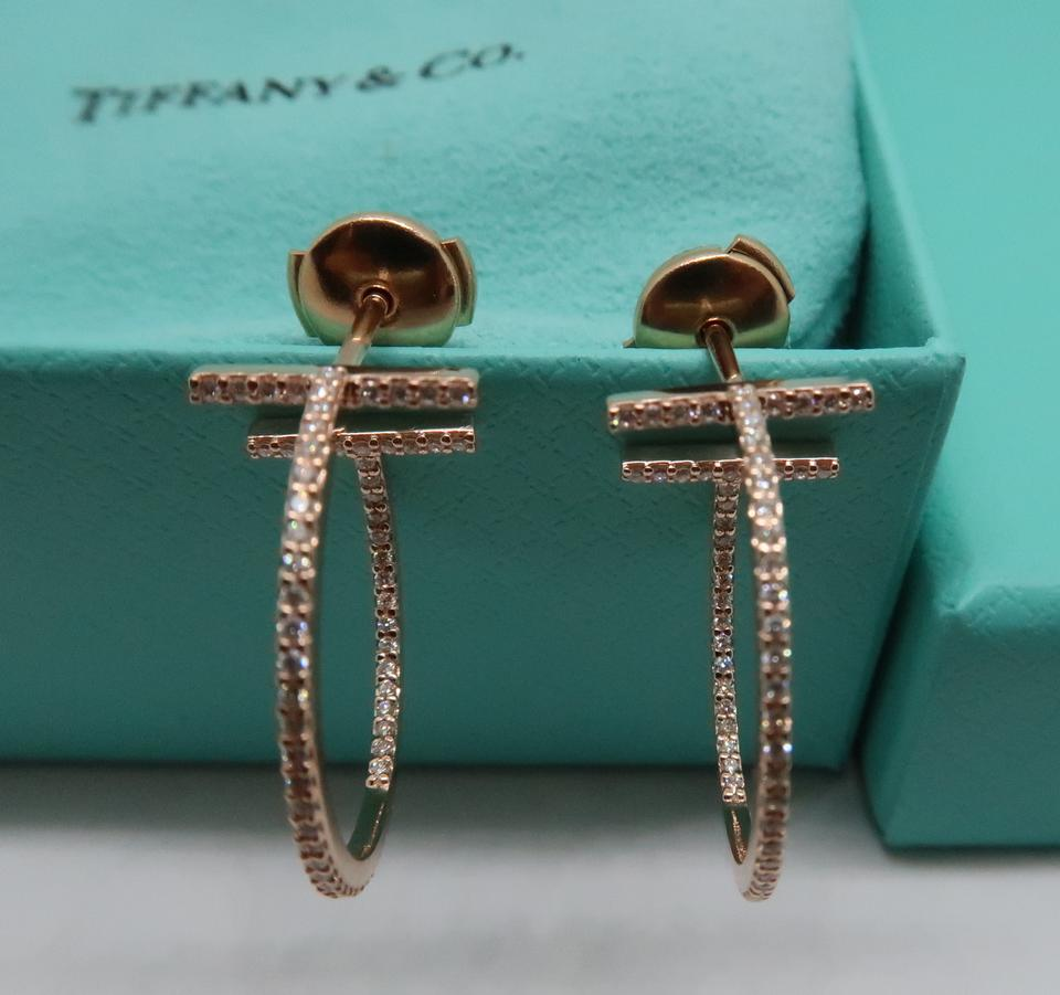 0ea30b571 Tiffany & Co. 18k Rose Gold and Diamond T Wire Hoop Earrings - Tradesy