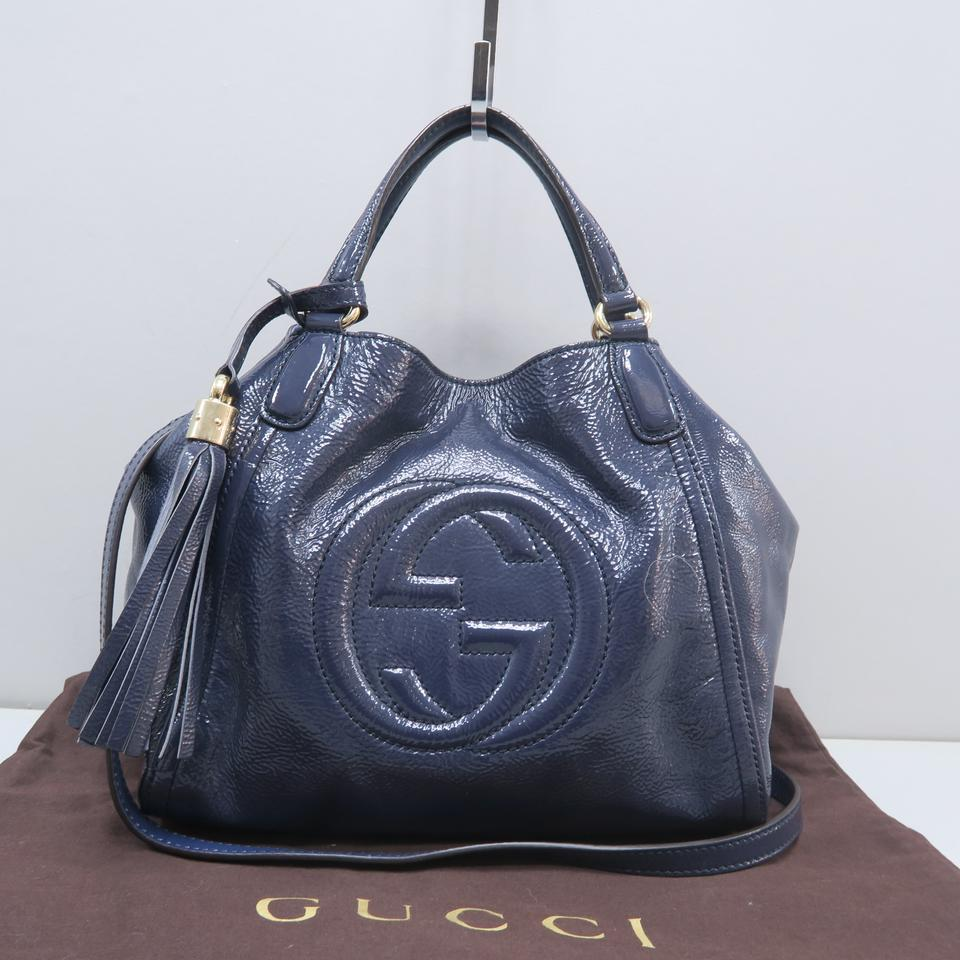 024571368 Gucci Soho Small Royalblue Patent Leather Satchel - Tradesy