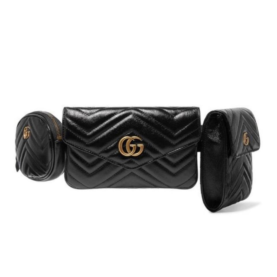 60d45db19fb280 Gucci Marmont Quilted Leather Triple Belt Cross Body Bag - Tradesy