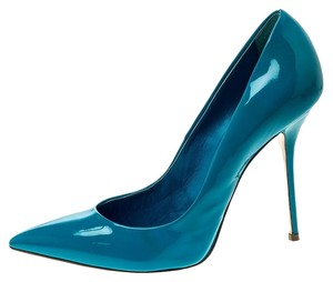 Casadei Patent Leather Pointed Toe Blue Pumps