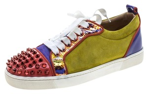 Christian Louboutin Suede Patent Leather Spike Leather Multicolor Flats