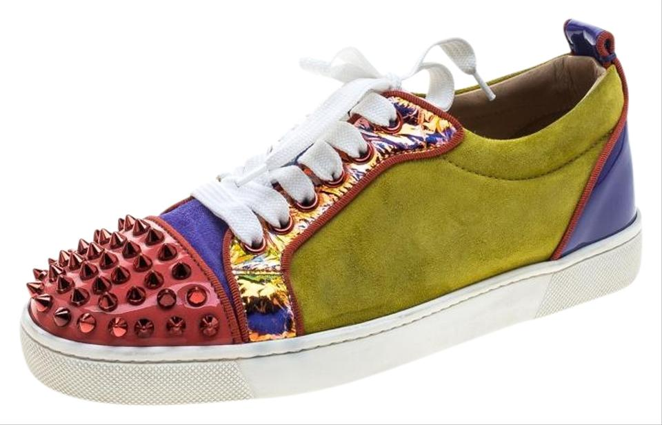 new style 55a8f d8127 Christian Louboutin Multicolor Suede and Patent Leather Louis Junior Spikes  Sneakers Flats Size EU 36 (Approx. US 6) Regular (M, B) 59% off retail