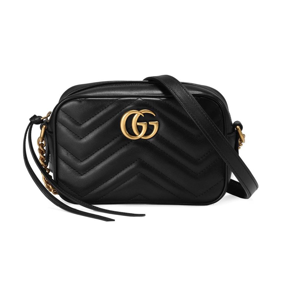 123767f5d18 Gucci Marmont New Gg Mini Crossbody Black Leather Shoulder Bag - Tradesy