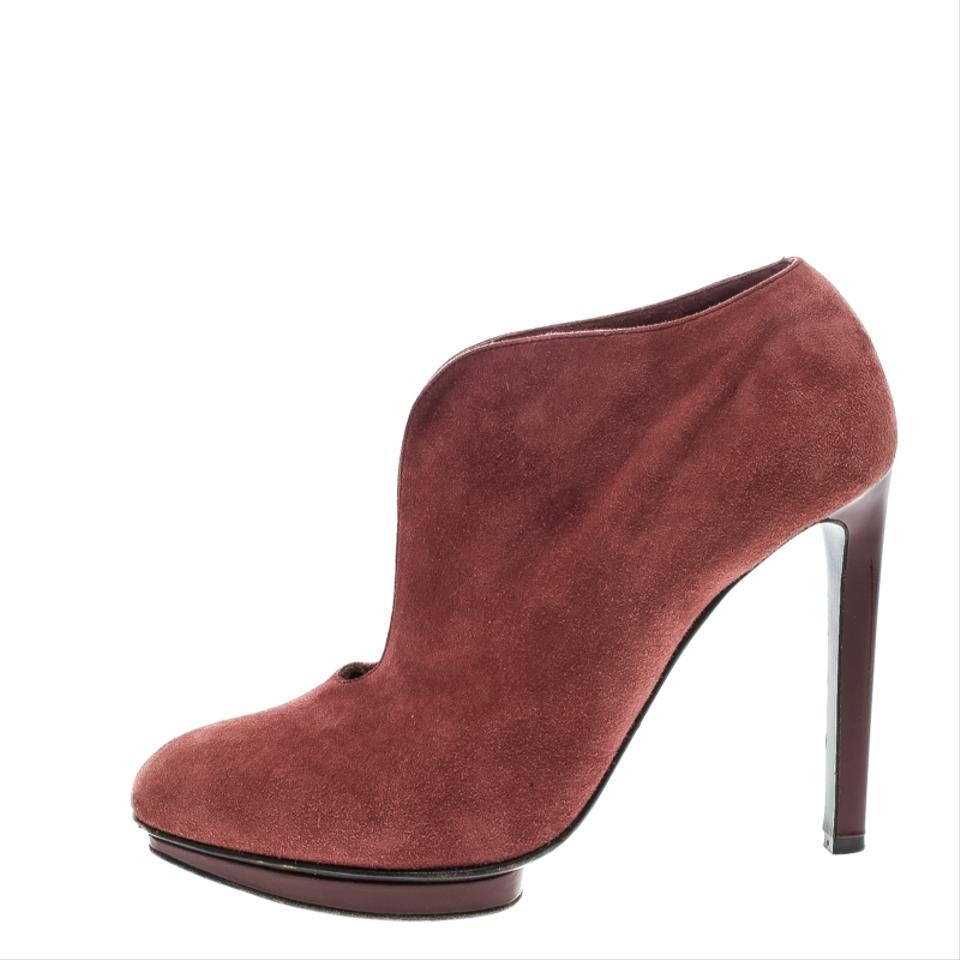 37f8fbe6dab7 Alexander McQueen Red Suede Ankle Boots Booties Size EU 37.5 (Approx ...