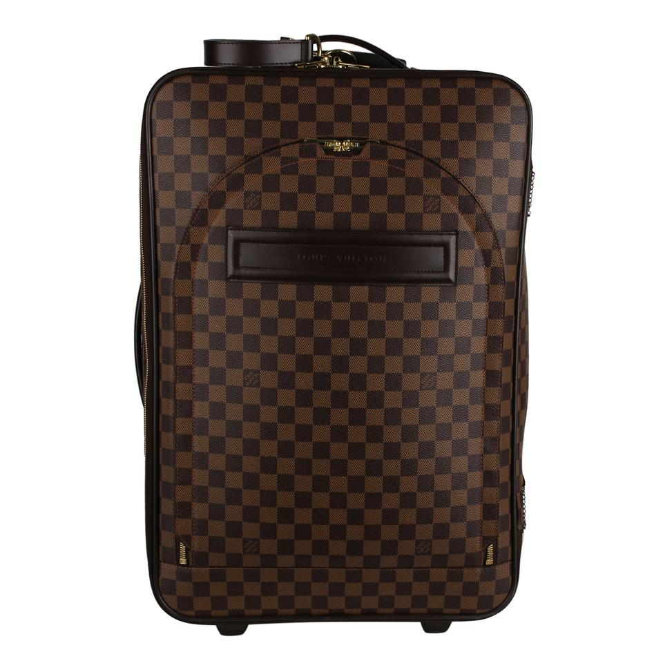 9393f297cd5 Louis Vuitton Pégase 55 Carry On Rolling Suitcase Luggage 7228 Brown Canvas  Weekend Travel Bag