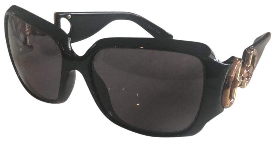 c78fce5f9 Gucci Black with Gold and Bamboo Accents Square D28bm Sunglasses ...