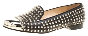 Christian Louboutin Spike Studded Leather Black Flats