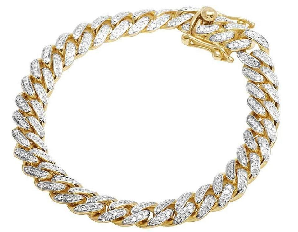 83a8364ad30143 Jewelry Unlimited 10k Yellow Gold Mens Miami Cuban Diamond 8mm Inches 3.5  Ct Bracelet