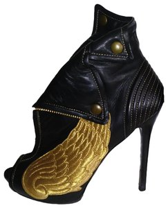 Alexander McQueen Leather New Amazing Black/Gold Boots