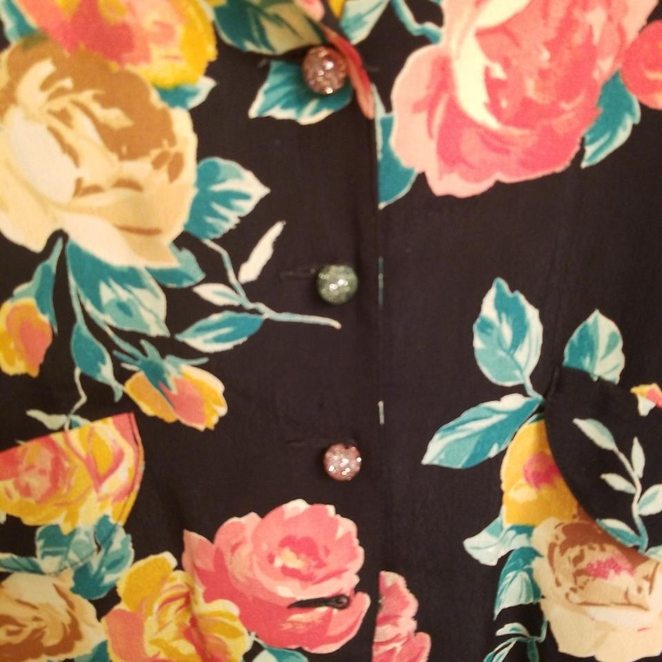Carole Little Multicolored Floral Print On A Black Background