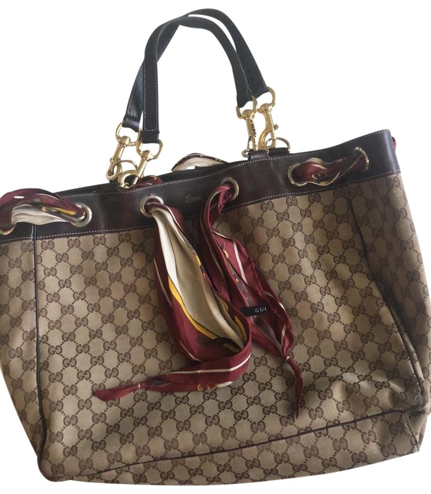 Gucci With Brown Leather And Gold Hardware Silk Scarf Tote 76 Off Retail