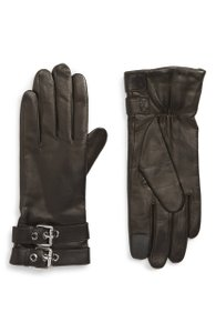 AllSaints Buckled Leather Gloves