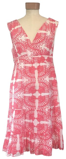 Item - Pink V Neck Fan Mid-length Casual Maxi Dress Size 4 (S)