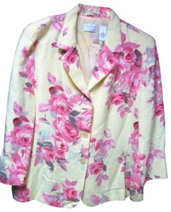 Emma James Liz Claiborne Spring Jacket Pink Roses Linen Blend Slightly Fitted Cardigan