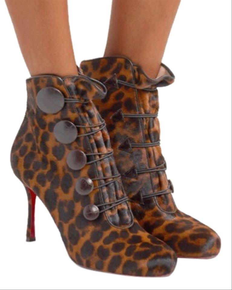 631a6959b Christian Louboutin Women's Brown Leather-trimmed Leopard-print Calf Hair Ankle  Boots/Booties