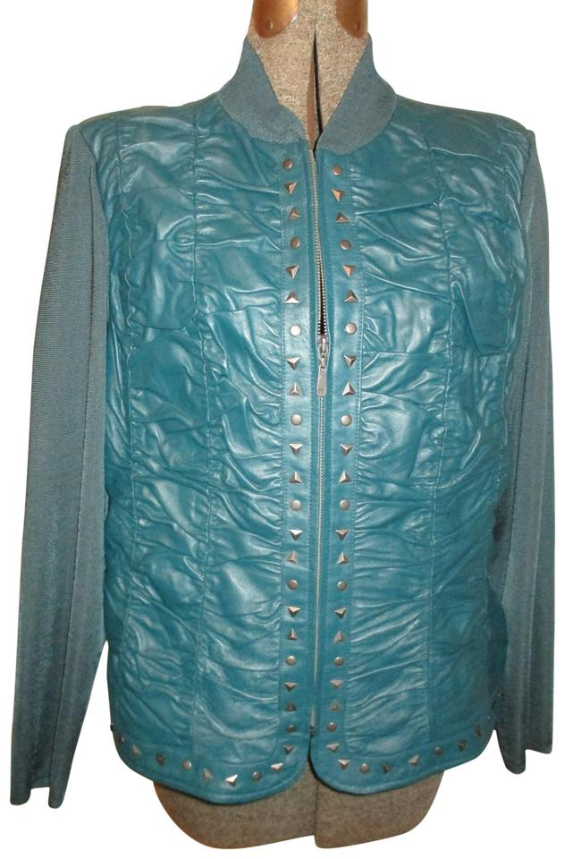376379b20 Peter Nygard Dark Green Studded Shirred Knit Jacket Size 16 (XL ...