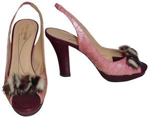 fa5673ed38d9 Kate Spade Leather Fur Multi-color pink dark red Sandals