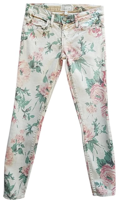 Item - Peach Floral The Stiletto Skinny Jeans Size 24 (0, XS)