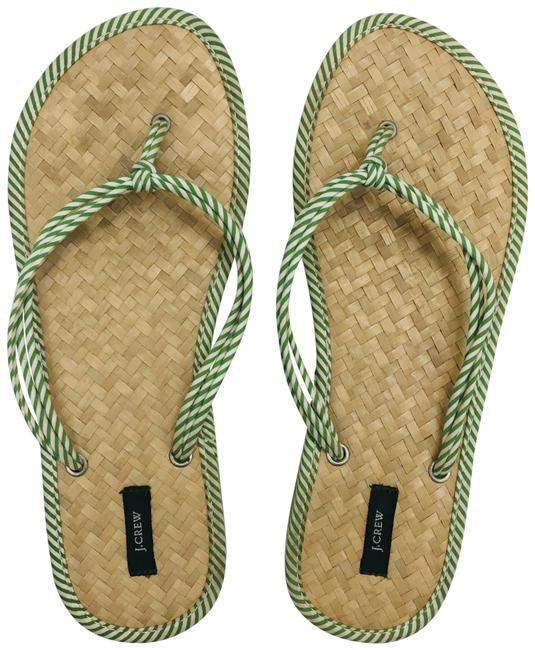 J.Crew Green and White Woven Flip Flop