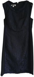 Kay Unger Floral Sheath Embellished Fitted Two-tone Dress