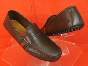 c625e96a1 Gucci Brown Cocoa Leather Web Grg Logo Penny Driver Loafers 8 Us 9 #407411  Shoes