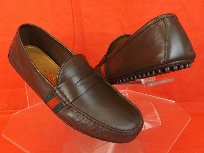 Item - Brown Cocoa Leather Web Grg Logo Penny Driver Loafers 7 Us 8 #407411 Shoes