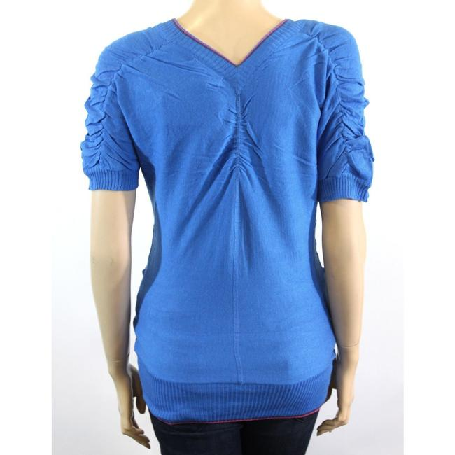 Tulle V-neck Buttons Short Sleeve Sweater Image 2