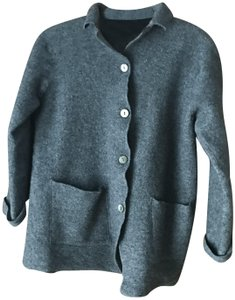 Valerie Stevens Patch Rolled Cuffs Extra Button Dry Clean Grey Merino Wool Jacket