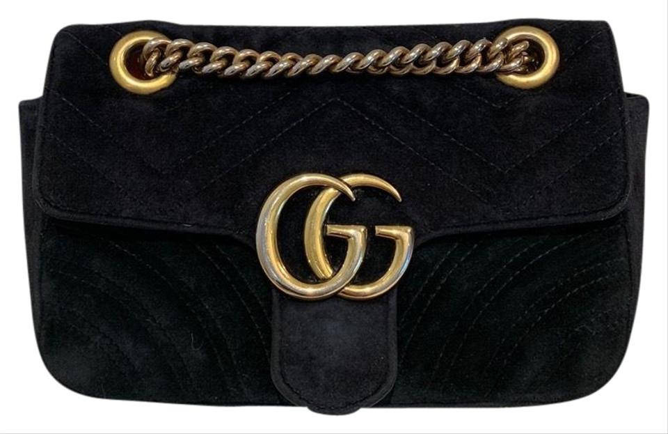 60194c29979b7 Gucci Marmont Gg Mini Should Black Velvet Cross Body Bag - Tradesy