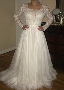 Watters & Watters Bridal Ivory Oyster Cotton Polyester Modest Wedding Dress Size 4 (S)