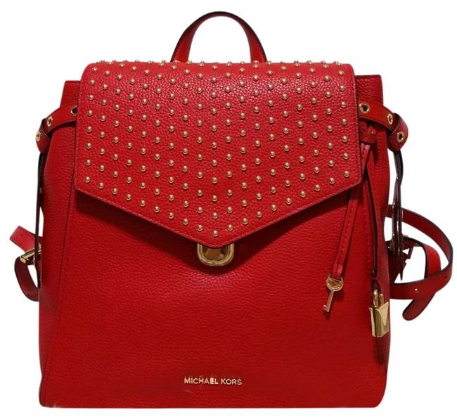 Item - Bristol Stud Medium School Travel (New with Tags) Bright Red/ Gold Leather Backpack