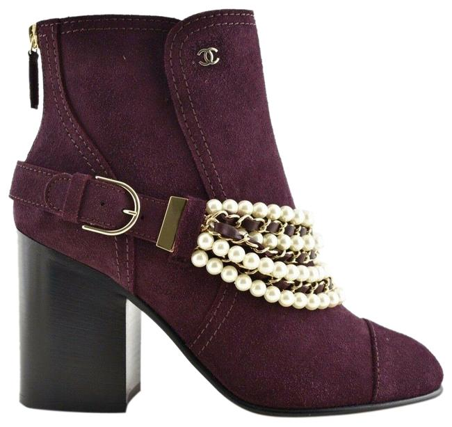 Item - Burgundy 18a Red Calfskin Suede Cc Logo Pearl Chain Block Heel Ankle Boots/Booties Size EU 38 (Approx. US 8) Regular (M, B)