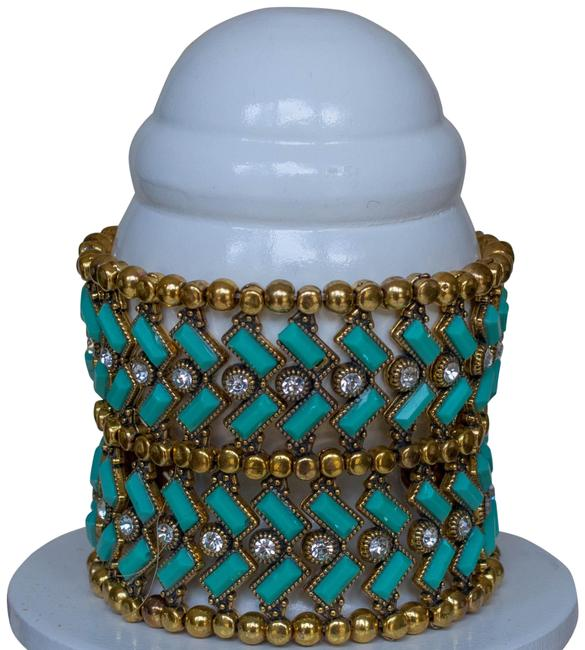 Amrita Singh Turquoise and Gold Resin Stone Stretch Bracelet Amrita Singh Turquoise and Gold Resin Stone Stretch Bracelet Image 1