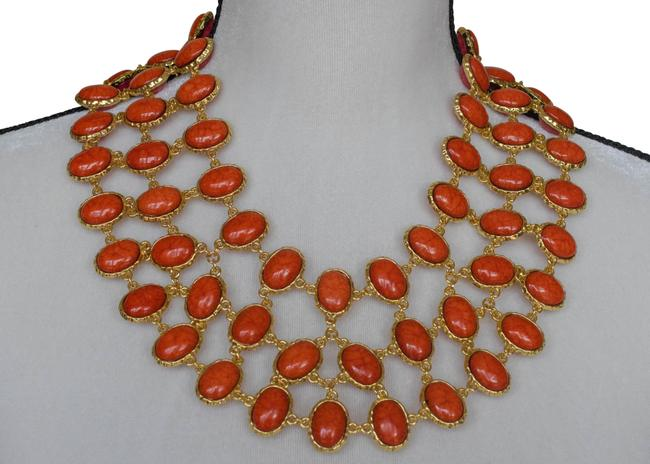 Item - Coral and Pink Reversible Cleopatra Bib Necklace