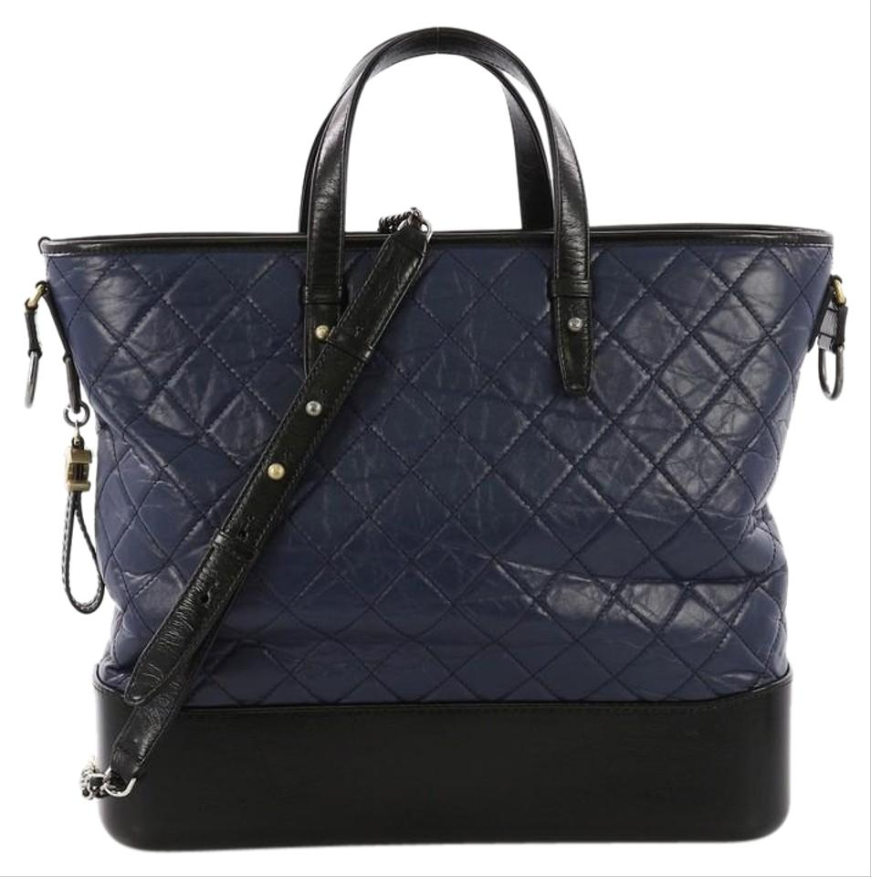 14eadcc9d0cd Chanel Shopping Tote Gabrielle Quilted Calfskin Large Navy and Black Leather  Tote