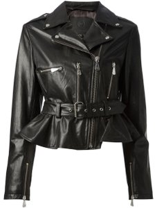 MCQ by Alexander McQueen Moto ; Leather Leather Peplum Motorcycle Jacket